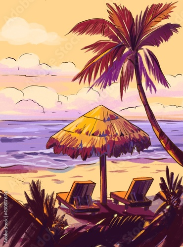 Tropical beach. Seascape, ocean landscape. Hand drawn illustration. Pencil drawing background