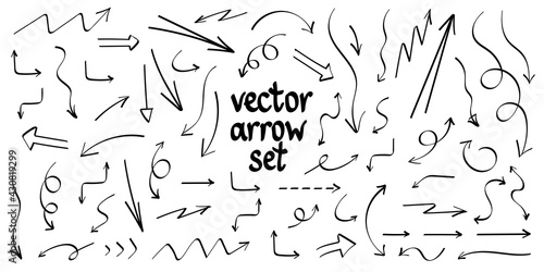 Fotografie, Obraz Collection hand drawn arrows