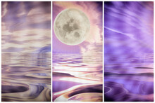Beautiful Triptych Background Moon And Sea Ocean Evening Waves. Moonscape
