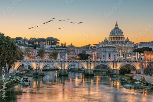 Obraz na plátně The city of Rome at sunset