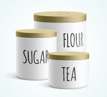 Vector Set Of White Modern Style Ceramic Containers, With Flour, Sugar, And Tea Text On It. Kitchen Canisters Covered With A Wooden Lid, Standing Isolated On A White Background.