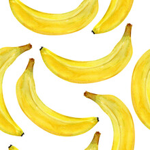 Bananas Yellow Watercolor Seamless Pattern. Template For Decorating Designs And Illustrations.