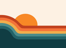 Retro 70s Sunset Abstract Rainbow Stripe Wave Graphic Background, Groovy Vintage Boho Colorful Ocean And Sun, Cute Calm Poster Or Sticker Design, Blue, Yellow, Orange, Red Art