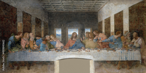 Leonardo da Vinci, The Last Supper, 1495-96, mural painting, Convent of Santa Maria delle Grazie, Milan, Italy.