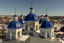 Blue Domes Of The Russian Orthodox Church On A Sunny Day.