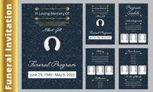 Floral Memorial And Funeral Invitation Card Template Design, Cherry Blossom And Leaves, Blue And Brown Tones. Botanical Memorial And Funeral Invitation Card Template Design, White Lilies With Black An