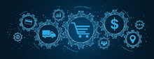 E-commerce And Shopping Online, Logistics, Transportation Concept, Buy And Sell On Cogs And Gear Wheel Mechanisms Wireframe Low Polygonal Blue Mesh With Dots, Lines, And Shapes.