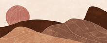 Landscape Painting In Earth Tones And With Rough Texture. Modern, Trendy Abstract Art Concept In Boho And Scandinavian Style. Background Illustration For Print, Poster And Art Product.