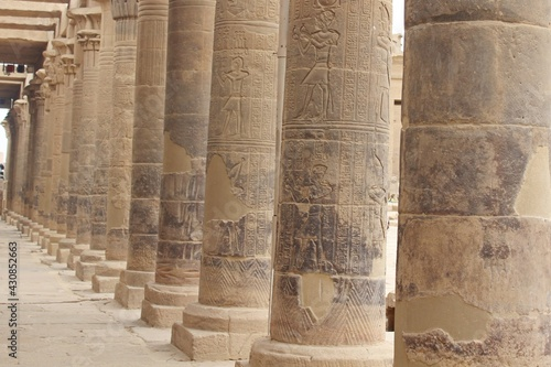 The great columns of Philae temple in Aswan in Egypt Fotobehang