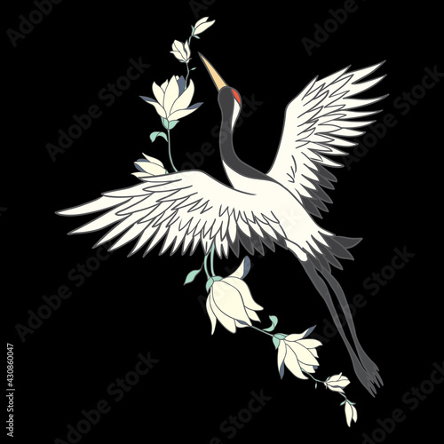 Naklejka premium Japanese crane bird isolate on a white background.