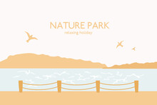 Bay And Pier With Fence. Seagulls Flying Under Water, Ocean, Mountains. Abstract Landscape With Text Nature Park. Vector Illustration, Relax, Vacation, Trip Concept.