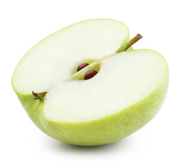 Green apple half close-up, isolated on white