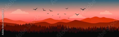 Pine Forest Landscape With Mountain Background  - fototapety na wymiar