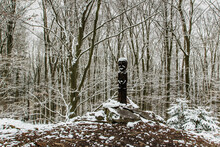 Carved Wooden Statue Covered With Snow Standing On Small Hill In Winter Forest. Wooden Sculpture Of Old Celt.Vacation Outdoors Harmony With Winter Nature Landscape. Faith Motivation Background.