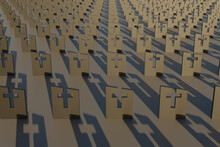 Endless Rows Of Graves In The Cemetery. Gravestones With Crosses Carved On Them. The Concept Of The Frailty Of Being And Human Mortality. 3d Rendering
