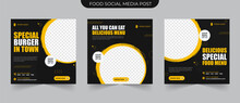 Delicous Food Promotion Menu In Black And Yellow Background Color With Shape Suitable For Social Media Post And Web Ads