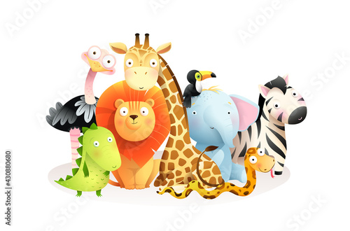 Fototapeta premium Wild exotic african baby animals group isolated on white background. Cute colorful safari animals sitting together, clip art for kids. Vector cartoon in watercolor style.