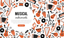 Hand Drawn Banners Template With Musical Instrument, Guitar, Saxophone. Doodle Sketch Style. Vector Illustration For Music Shop, Musical Instrument Banner, Music Festival Flyer, Brochure Background