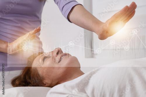 Canvas Energy healing treatment . Alternative medicine concept.