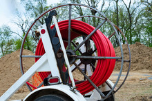 Spool Of Cable And Fiber Optics In The Road Work