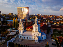 Evening Winter Voronezh, Aerial View From Drone. Vvedenskaya Church