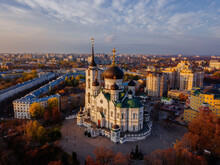 Evening Autumn Voronezh, Annunciation Cathedral, Aerial Drone View