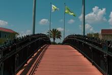 Walking Across The Bridge Of Love's Padlocks.