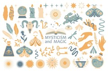 Set Of Magic Symbols, Esoteric Witch Tattoos. Collection Of Crescent Moon, Sun With Face, Hands, Plants, Magic Ball And Stars, Crystals. Vector Flat Mystic Vintage Illustration. Boho Design For Card