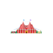 Shapito Traveling Circus Tent Isolated Striped Awning Icon. Vector Itinerant Big Top Circus, Facade Of Entertainment Building Decorated By Flags. Trailers And Trees, Amusement Fair, Magic Marquee
