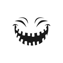 Halloween Laughing Face Vector Icon, Happy Monster Emotion, Funny Toothy Smile With Screwed Up Eyes. Positive Emoji With Laugh Mouth, Ghost, Jack Lantern Isolated Monochrome Sign