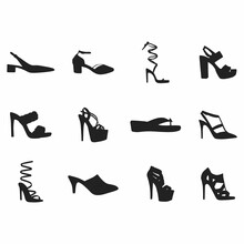 Shoes Illustration Isolated On White High Heels Icon Black And White Vector Women Silhoutte