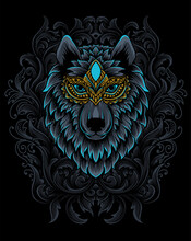Illustration Wolf Head With Vintage Engraving Ornament