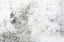 Textured Abstract Painting. Hand Painted White Color On Gray Canvas Background.