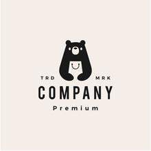 Bear Shop Hipster Vintage Logo Vector Icon Illustration