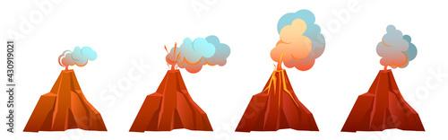 Fotografie, Tablou Volcanic eruption in different stages