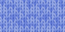 Seamless Blue Pattern With Realistic Knitted Texture For Background And Wallpaper. Illustration With Closeup Yarn, Merino Wool.