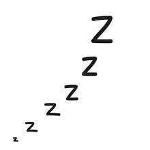 Hand Drawn Zzz Sleep Wave Isolated On White Background. Vector Illustration