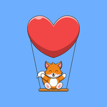 Cute Fox Is Playing On The Swing