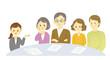 イラスト素材:青ざめた老夫婦と若い夫婦が相談をする場面  契約 相談 打ち合わせ