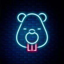 Glowing Neon Line Beaver Animal Icon Isolated On Brick Wall Background. Colorful Outline Concept. Vector