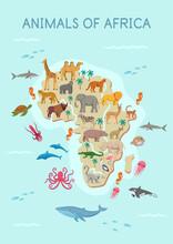 Animals Of Africa Map:hyena, Giraffe, Zebra, Elephant, Crocodile, Gorilla, Lion, Antelope, Flamingo, Lemur, Cheetah, Leopard, Camel, Buffalo, Hippo, Rhinoceros, Crowned Crane.Flat Cartoon Illustration