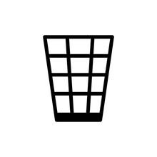 Waste Basket Icon, Vector Illustration On White Background, Simple Style