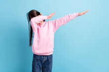 Photo Of Young Preteen Girl Happy Positive Smile Dance Dancer Dab Hip-hop Music Isolated Over Blue Color Background