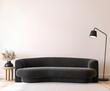 Leinwandbild Motiv Modern living room mockup, black minimal sofa on empty wall background, 3d render