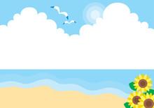 爽やかで穏やかな夏の砂浜のイラスト 可愛い シンプル 海 背景 コピースペース 入道雲 ヒマワリ