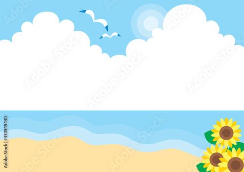 Fotomural 爽やかで穏やかな夏の砂浜のイラスト 可愛い シンプル 海 背景 コピースペース 入道雲 ヒマワリ