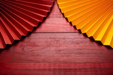Red Wooden Board Opened Folding Fan Chinese Style Background