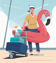 Man Going On Beach Holiday With Inflatable At Airport