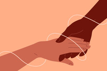 Anti-racism Helping Concept. Two Strong And Brave Hands Holding Together, Allyship To Support A World With More Solidarity, Equal Justice And Opportunity, Collaboration, Racial Equality. A Thread Bind