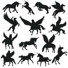 Unicorn And Pegasus Illustration Clip Art Design Scene. Horse Collection Silhouettes Icon Vector.